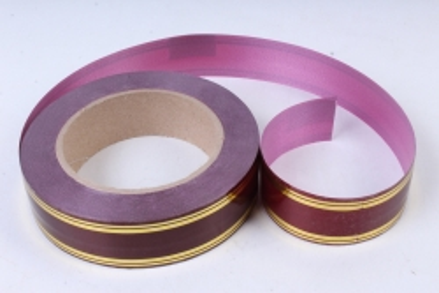 Лента с золотой полосой (3см х 50ярд) Классика (полосы по краю) БОРДО