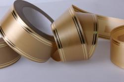 Лента с золотой полосой (5см*50ярд) лаковая L509 БРОНЗОВЫЙ