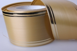 Лента с золотой полосой (8см*50ярд) лаковая L809 БРОНЗА