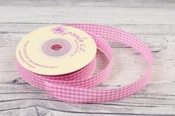 Лента сатин клетка розовая 15мм*25y WSTKR37