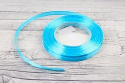 Лента сатиновая 6мм х 25Y небесно-голубая WSH62-6MM