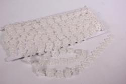 Лента-тесьма 1,5см*9м пластик белый цветочки бусины 5045
