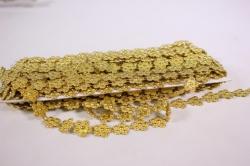 Лента-тесьма 1,5см*9м пластик  золото  5727