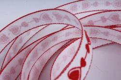 лента ткан. 1,5см*10м  сердца красные на белом 225336м  1,5/05   7938  п