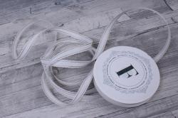 Лента ткан. репсовая 1,0см*10м Белая с золотой полосой и кружевным кантом  225340 П
