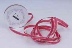 Лента ткан. репсовая 1,0см*10м Малина с золотой полосой и кружевным кантом  225340 П