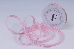 Лента ткан. репсовая 1,0см*10м Светло-розовая с золотой полосой и кружевным кантом  225340 П