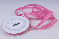лента ткан. репсовая 1,0см*10м ярко-розовая с золотой полосой и кружевным кантом  225340 п