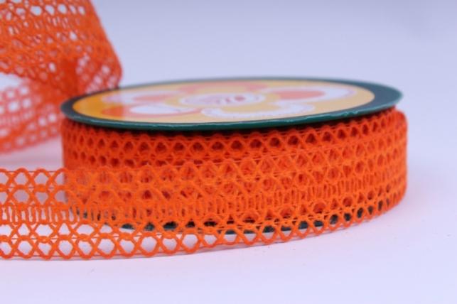 Лента тканевая - 2,5см*10м Кружево Оранжевая  224166 П