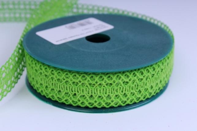 Лента тканевая - 2,5см*10м Кружево Зеленая  224166 П