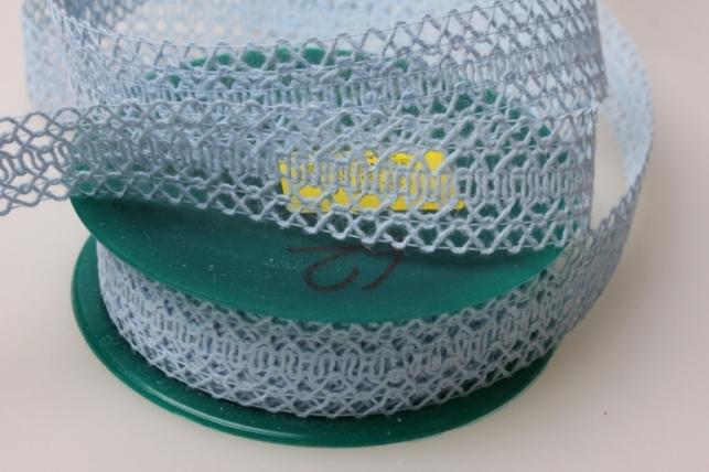 Лента тканевая 2,5см х 10м Кружево Голубая 224166П
