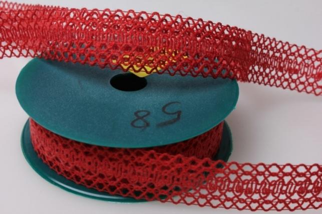 Лента тканевая 2,5см х 10м Кружево Красная 224166П
