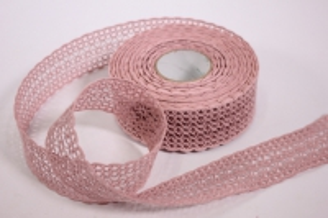 Лента тканевая - 4,0см*10м Кружево Пепельно-розовый (Код 224167 П)
