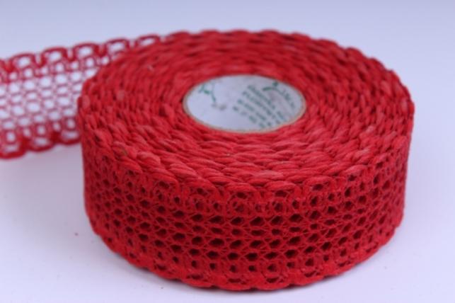 Лента тканевая - 4см*10м Кружево Красная  224162 П