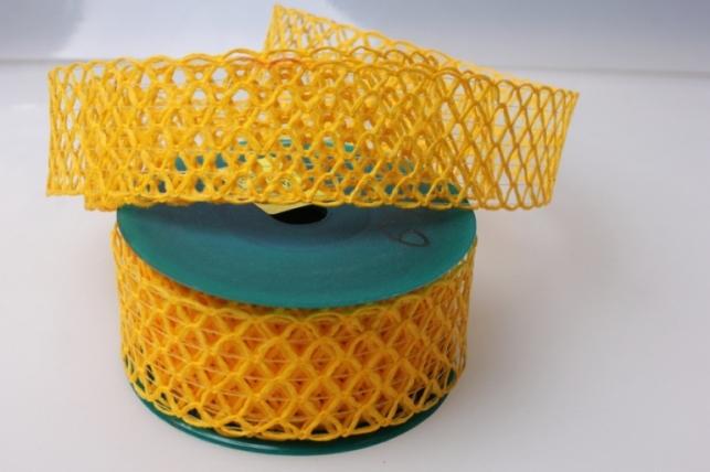 Лента тканевая 4см х 10м Кружево Желтый 224133