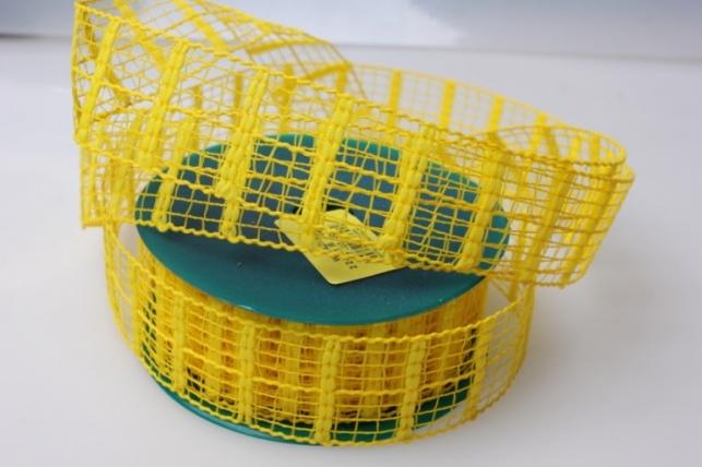 Лента тканевая 4см х 10м Кружево Желтый 224151П