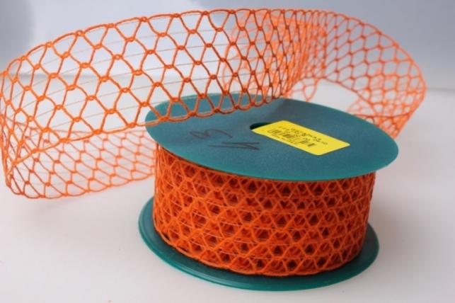 Лента тканевая 4см х 10м Кружево Оранж 224133