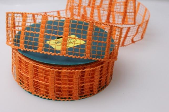 Лента тканевая 4см х 10м Кружево Оранж 224151П