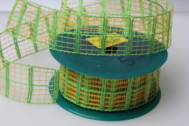 Лента тканевая 4см х 10м Кружево Салат/оранж  224151П