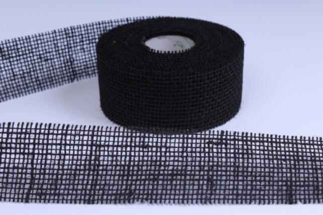 Лента тканевая - Мешковина 5*10м Чёрная  221014 П