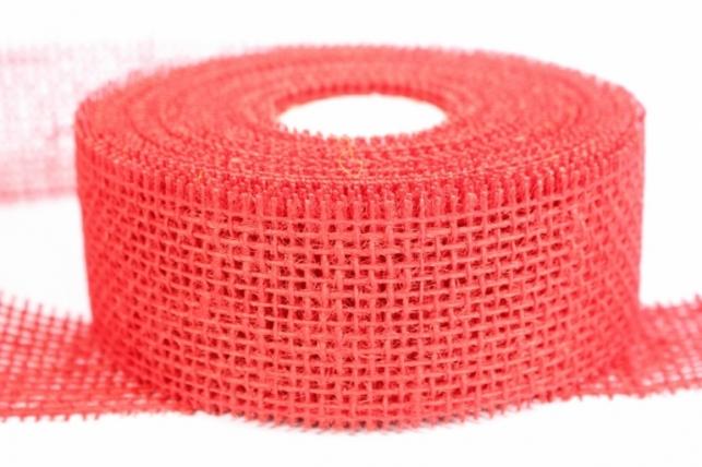 Лента тканевая - Мешковина 5*10м Красная  221014 П