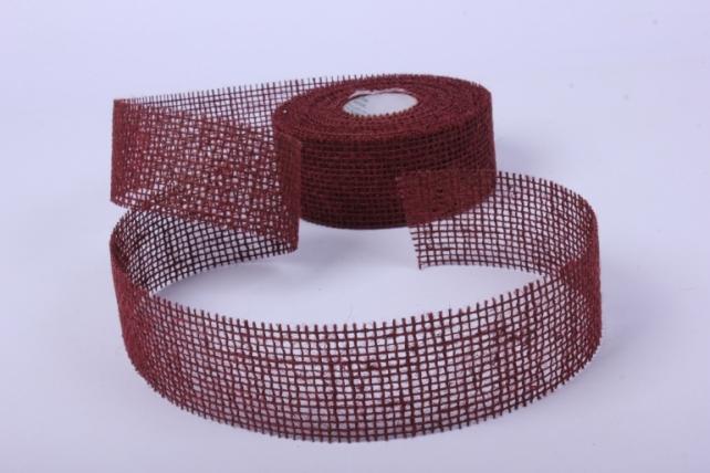 Лента тканевая - Мешковина 5*10м тёмно-коричневая  221014_40 П