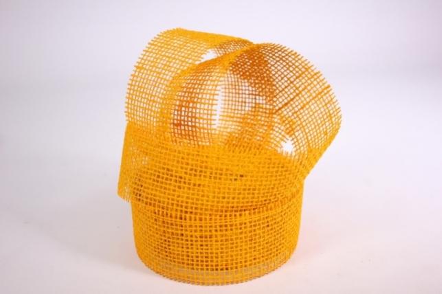лента тканевая - мешковина 5*10м ярко-желтая  221014 п