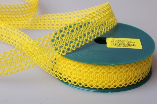 лента тканная 2,5см х 10м кружево желтая 224166 п