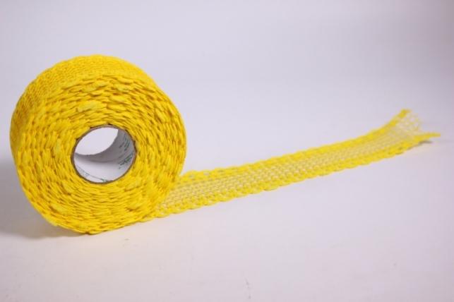 лента тканная 4см*10м - кружево - желтая (код 224162 п)