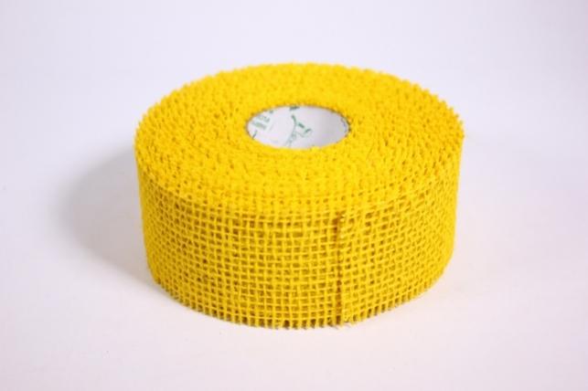 Лента тканная Мешковина 5*10м - Желтая (Код 221014)