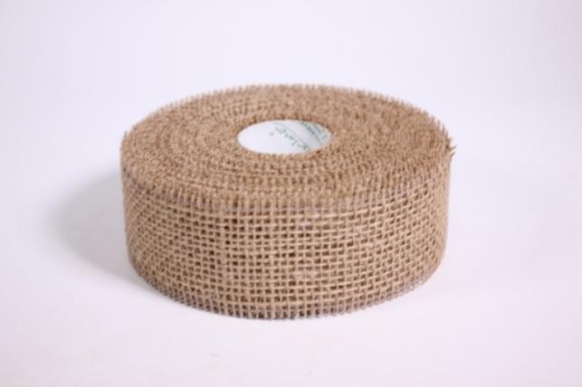 Лента тканная Мешковина 5*10м - Светло коричневая (Код 221014)
