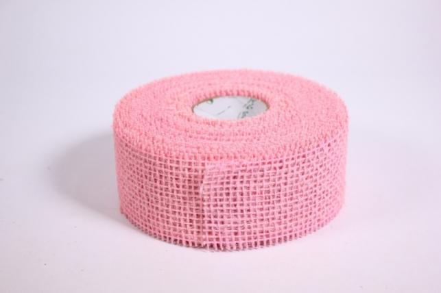 Лента тканная Мешковина 5*10м - Светло розовая (Код 221014)