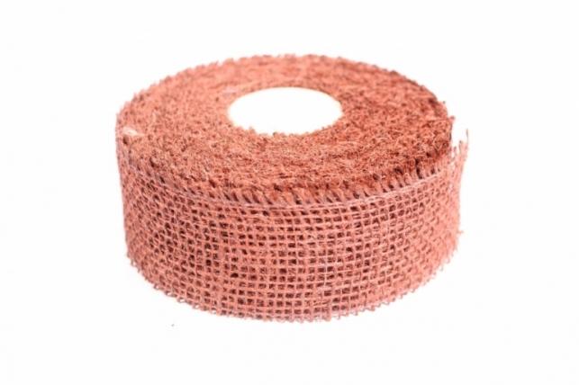 Лента тканная Мешковина 5*10м - Терракотовая (Код 221014)