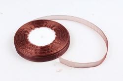 Лента тканная органза 12мм*50Y Шоколад  F014-49/BK05