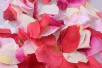 лепестки роз лепестки роз (микс цветов розовый, белый, красный, кремовый) в пакете 7913
