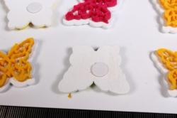 липучки декоративные - наклейка бабочки флок (12шт в уп) - код 4934