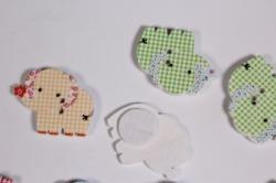 липучки декоративные - наклейка слон в клетку (12шт в уп) - код 2596