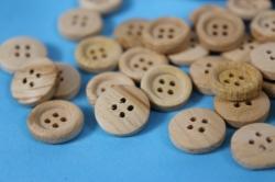 Липучки декоративные - Пуговицы дерево натуральные 1,2см (100шт) - Код 8267
