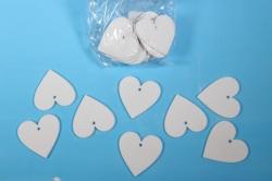 Липучки декоративные - Сердца дерево - белые 5см (20шт) - Код 9242