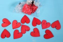 Липучки декоративные - Сердца дерево - красные 5см (20шт) - Код 9235