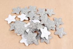 Липучки звездочки серебро 3,5 см 30 шт текстиль H1904036 SILVER 6812