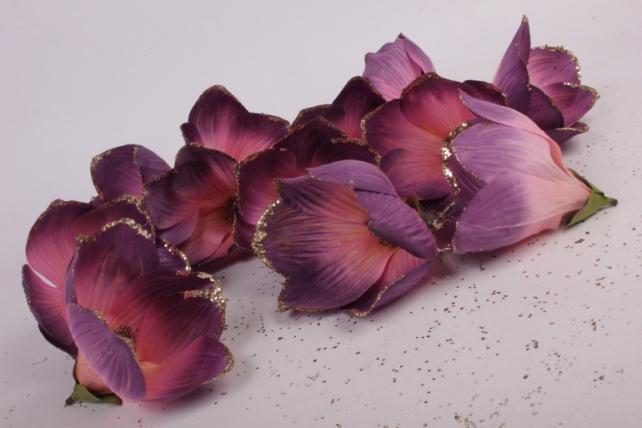 магнолия цветок-бутон cиренево-розовый с блестками (12шт в уп)  fme071722