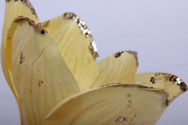 магнолия цветок-бутон желтый с блестками (12шт в уп)  fme071722