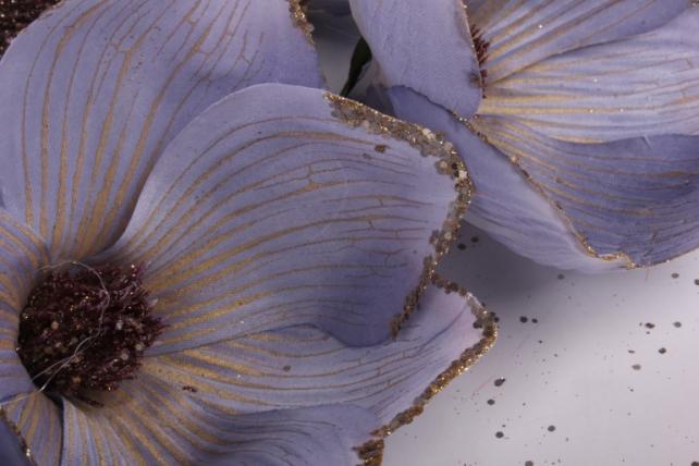 магнолия цветок-бутон голубой с блестками (12шт в уп)  fme071722