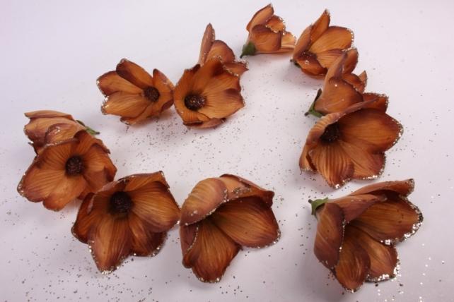 магнолия цветок-бутон карамель с блестками (12шт в уп)  fme071722