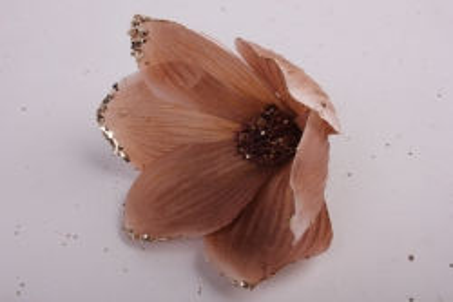 магнолия цветок-бутон кофейный с блестками (12шт в уп)  fme071722