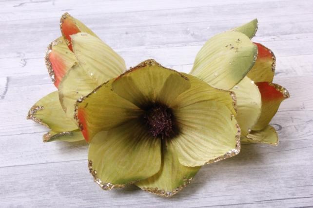 магнолия цветок-бутон оливковый с блестками (3шт в уп)  fme071722