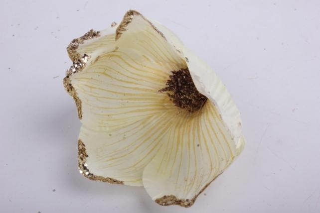 магнолия цветок-бутон шампань с блестками (12шт в уп)  fme071722
