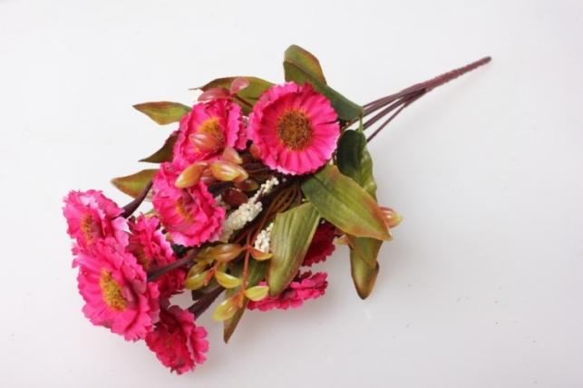 Маргаритки пастель малина букет 30см