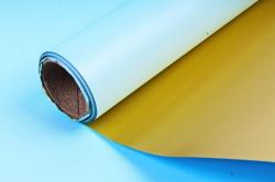 Материал флористическая пленка с золотом, 60 см х 5 м, Голубой (М)